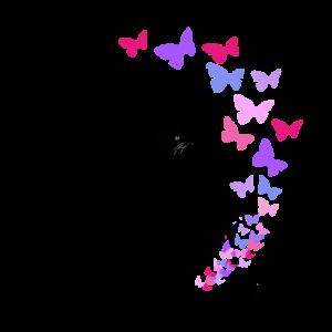 Schwarze Katze und bunte Schmetterlinge Design