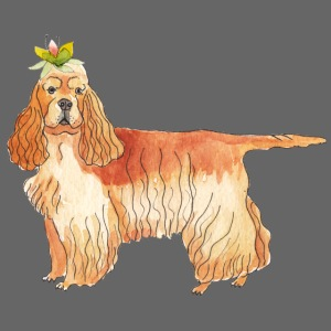 American cocker spaniel with flower