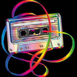 stylische 80er Jahre Musikkassette mit Bandsalat