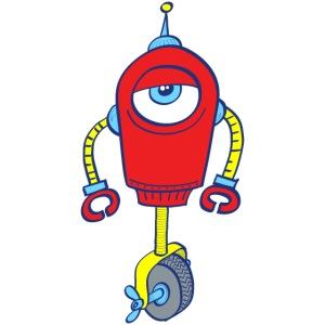 Robot with one eye, on one wheel, apathetic mood