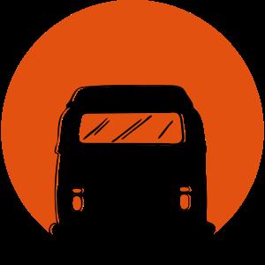 Bus mit Sonnenuntergang