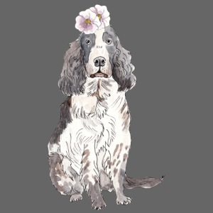 English cocker spaniel with flower