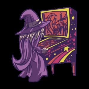 Magic gamer wizard Zauberer am Flipper Automat
