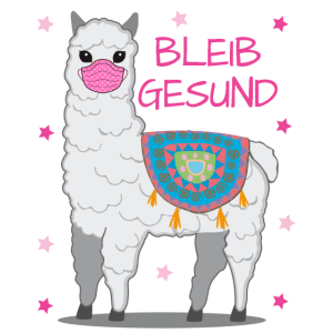 Lama mit Mundschutz gegen das Corona Virus
