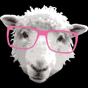 Hipster Schaf mit Rosa Brille