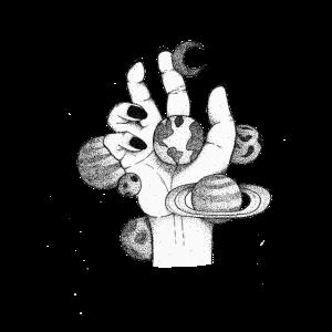Hand mit Galaxie