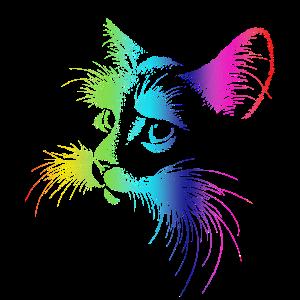 Katze Neon Style Silhouette Geschenk Geschenkidee