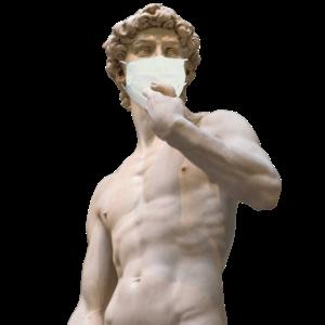 Michelangelo Statue mit Mundschutz gegen Virus