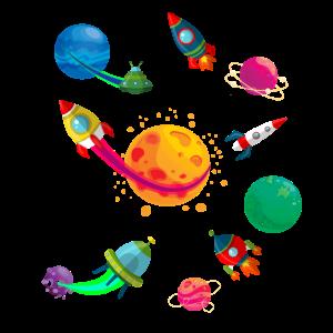 Bunte Raketen und Planeten im Weltraum für Kinder