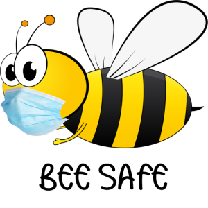 Bee Safe from Corona. Biene mit Mundschutz sicher