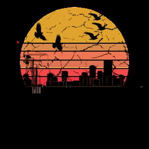 Industrie im Sonnenuntergang Stadt Geschenk