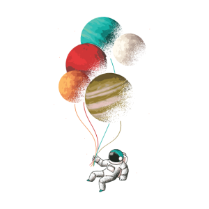 Astronaut mit farbigem Ballon
