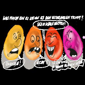 Bunte Ostereier Comic Motiv Ostern Gespräch Witz