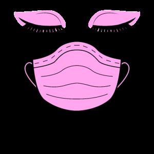 Schönheit mit Mundschutz gegen das Corona Virus