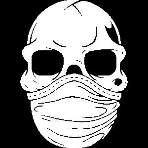 Totenkopf mit Mundschutz, atemmaske krise geschenk