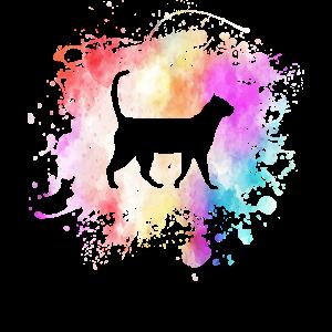 Katze Im Farbklecks I Cat Lustige Tier Kunst Farbe