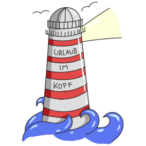 Leuchtturm Urlaub im Kopf Spruch Meer