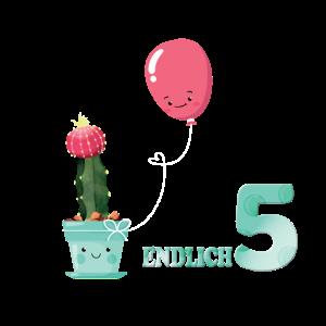 süßes Endlich 5 Kaktus und Ballon Geschenkidee