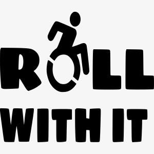 > Ik rol met mijn rolstoel, roller, gehandicapt