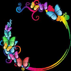 bunter Schmetterlings Rahmen für eigene Texte