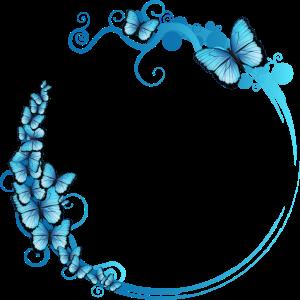 blauer Schmetterlings Rahmen für eigene Texte