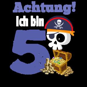 Achtung! Ich bin 5 5. Kindergeburtstag Pirat