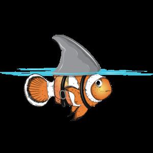 Clownfisch mit Haifischflossen Kostüm