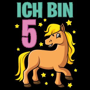 Kinder Geburtstagsshirt Pferd 5 Geburtstag Mädchen