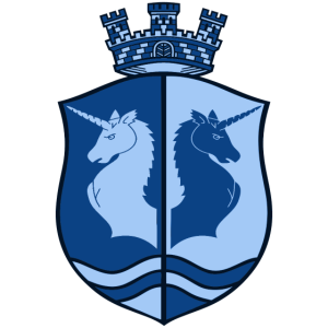 Angry Unicorn Coat of Arms | blue
