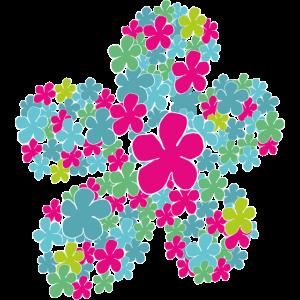 Blume Flowerpower Blüte in pink türkis grün