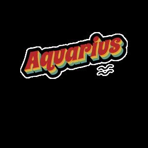 Vintage Logo Sternzeichen Aquarius Zodiac Symbol