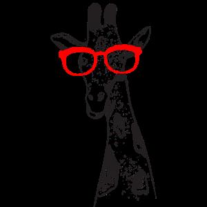 Lustige Giraffe mit Brille T-Shirt Geschenkidee