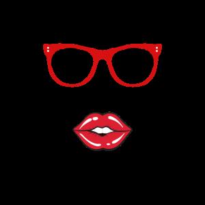 Frau mit Brille und roten Lippen
