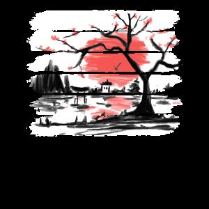 Japan Aquarell Red Sun I Weinlese-Kirschbaum