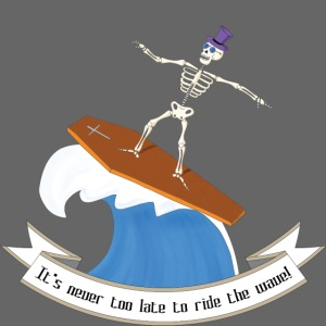 Skeleton surfing on coffin lid
