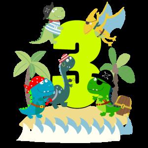 3 Jahre Pirat Geburtstag Junge drei 3. Dinos T-Rex