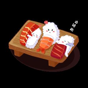 Mürrisches schlafendes Sushi - Kawaii Japanese Food Art