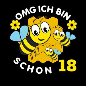 Bienen Design mit Bienen zum 18. Geburtstag