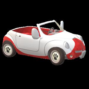 Rot-weißer-Duet-Wagen