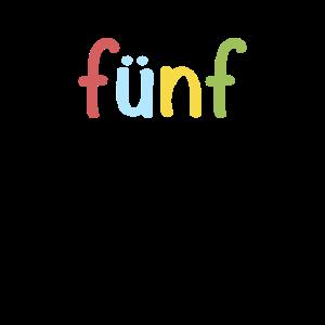 Fünf 5 Jahre Jung - Buchstaben Kindergeburtstag