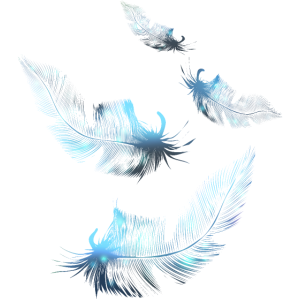Hellblaue Daunenfedern schweben im Wind