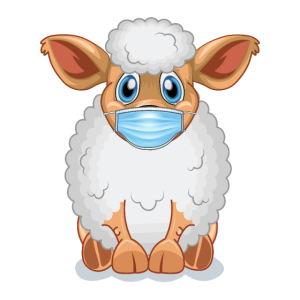 Süsses Schaf findet Mundschutz Echt Scharf Cool