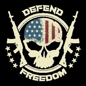 Grunge Defend Freedom I Vintage USA Schädel Waffen