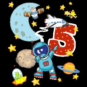 5 Jahre Astronaut Weltall Rakete Alien Weltraum