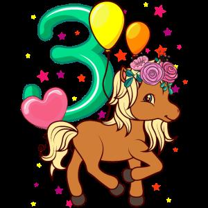 Kinder Geburtstagsshirt Pferd 3 Geburtstag Mädchen