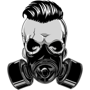 Hipster Skull Totenkopf mit Maske Gasmaske