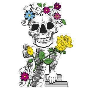 teschio con rose 01