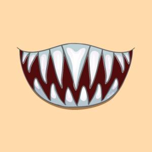 Gesichtsmaske Mundschutz   Hai   Piranha   Zähne