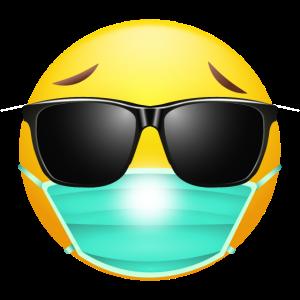EMOJI mit Maske u. Sonnenbrille cooles Design