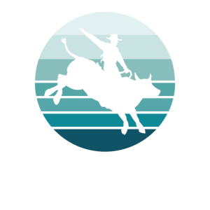 Bull Rider - Bullenreiten - Retro Blue Stripes